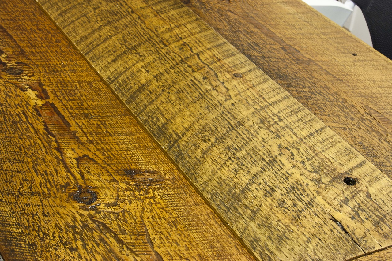 Detail of reclaimed yellow pine conference room table by Bay Area Custom Furniture