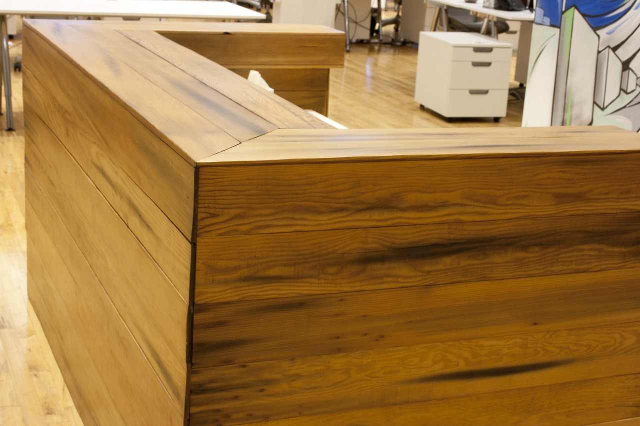 Detail of custom reception desk at San Francisco tech start-up - Bay Area Custom Furniture