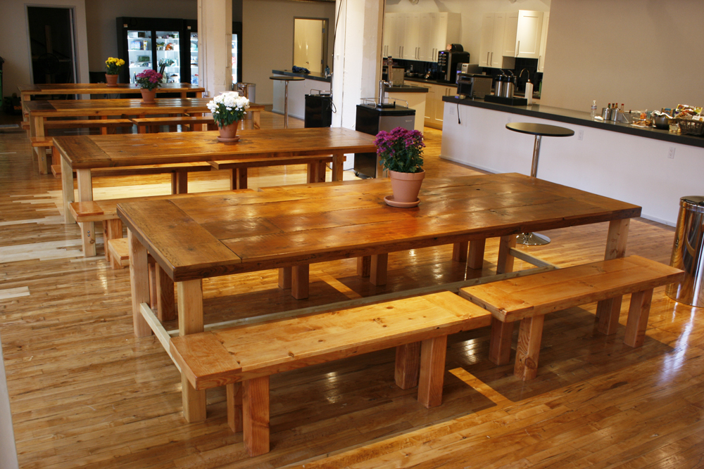Chic cafeteria reclaimed wood tables