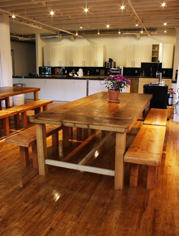 Family Farmhouse Dining Table With Matching Benches. Farmhouse Dining Table  With Reclaimed Wood ...
