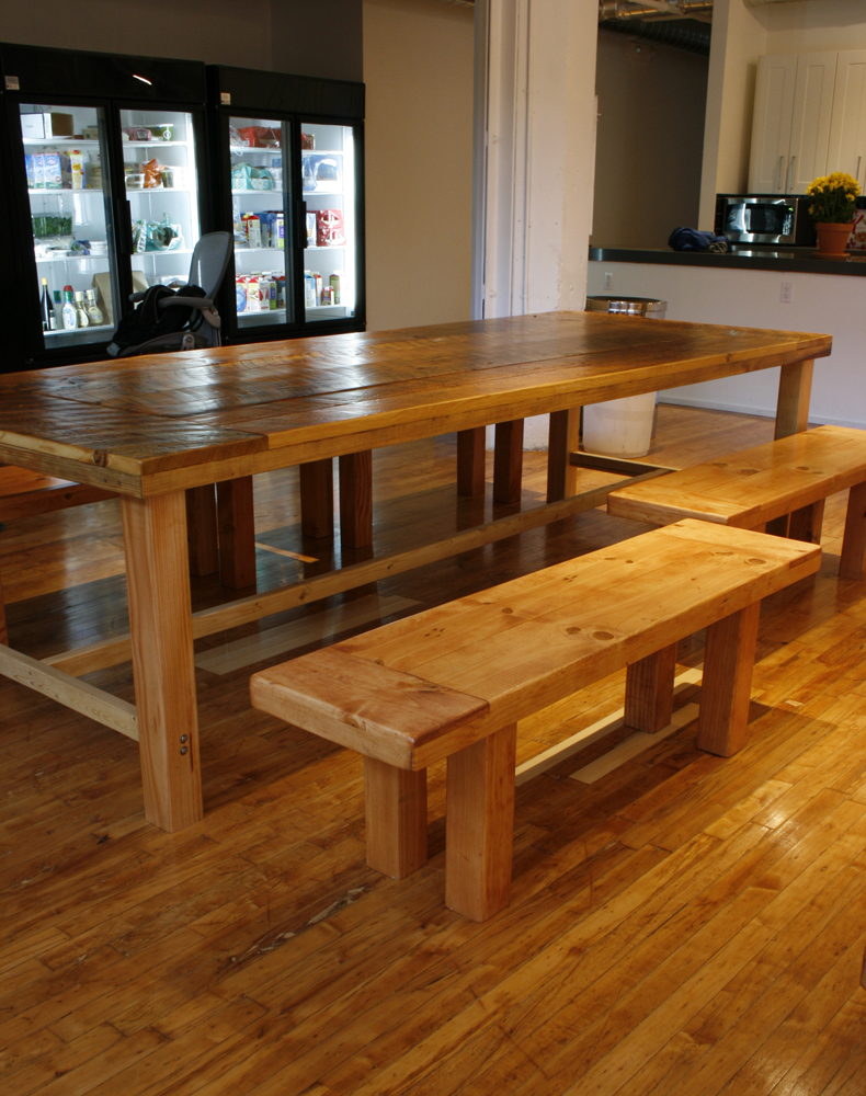 Farmhouse dining table and benches