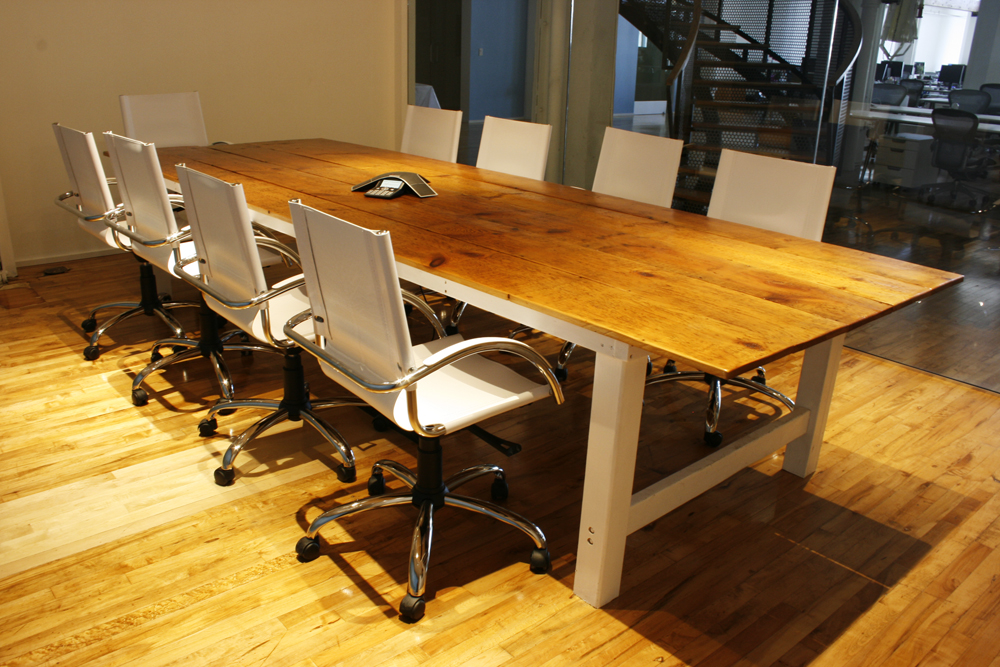 Reclaimed Farmhouse Inspired Conference Room Table
