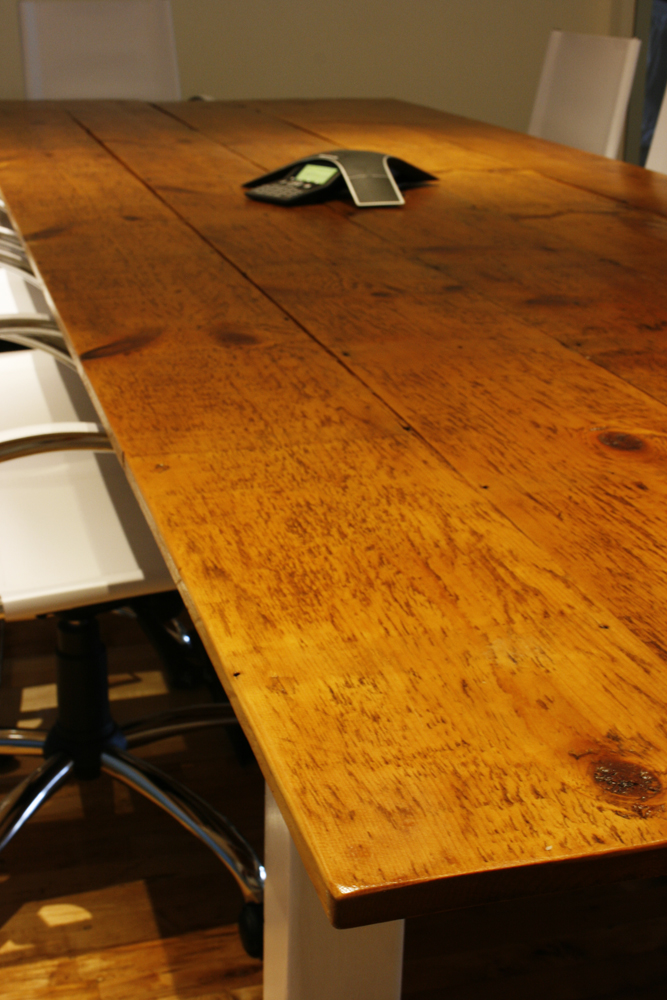 Reclaimed farmhouse conference room table bay area for Yellow farmhouse table