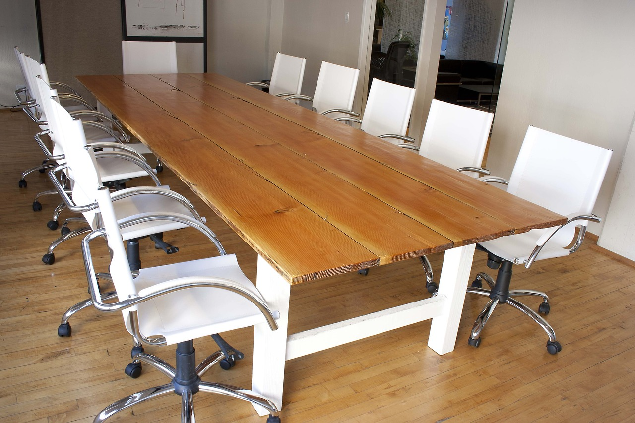 Reclaimed fir conference table with white base