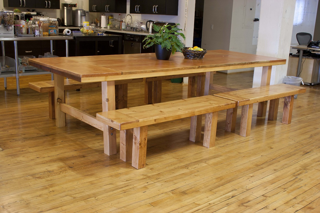 Reclaimed fir dining table and benches.