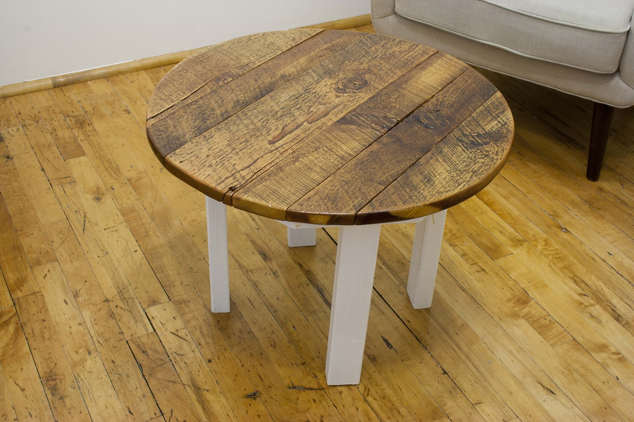 Reclaimed yellow pine round coffee table