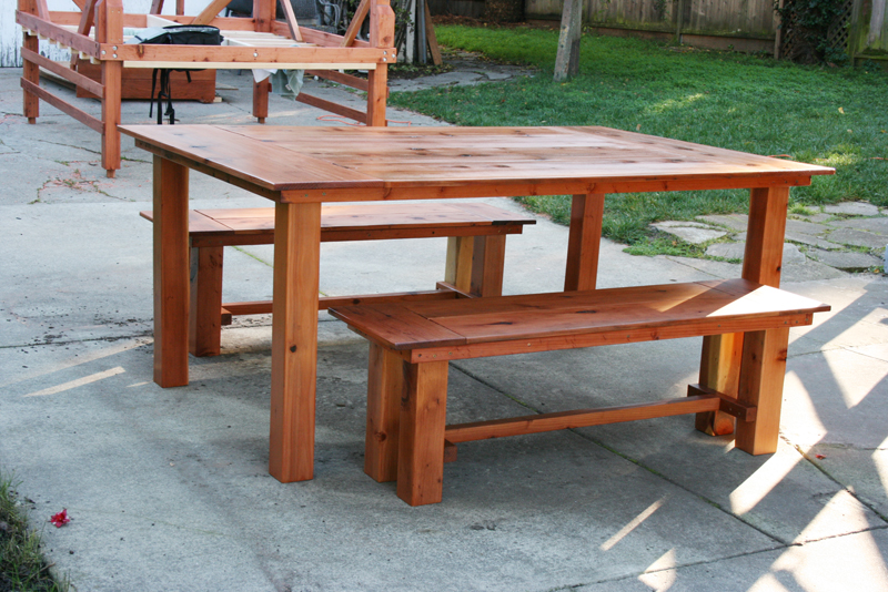 Custom made redwood dining table