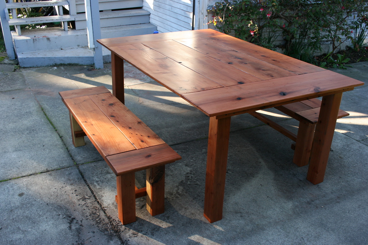 Redwood Dining Table Amp Benches Bay Area Custom Furniture