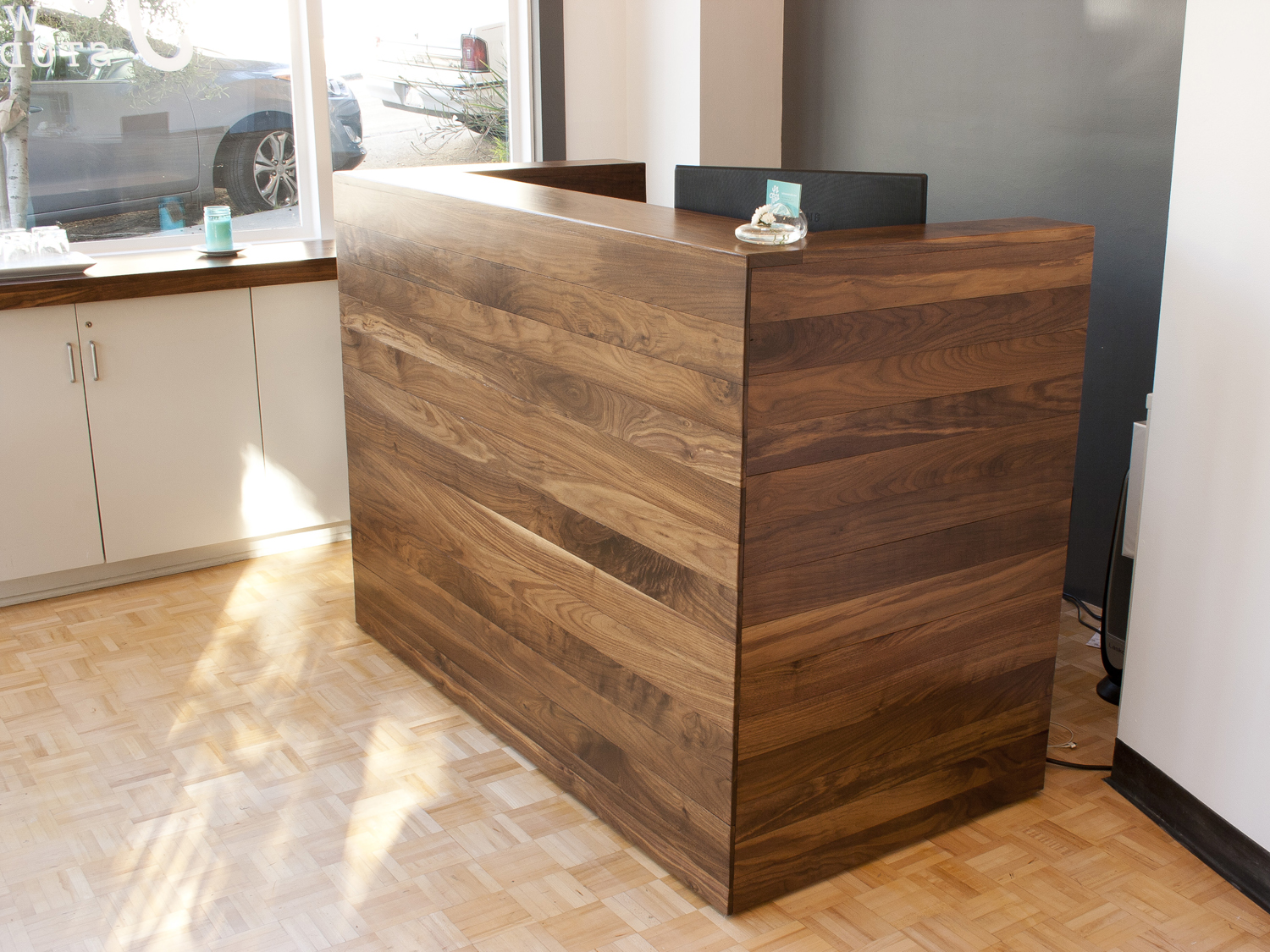 Walnut Reception Desk Bay Area Custom Furniture