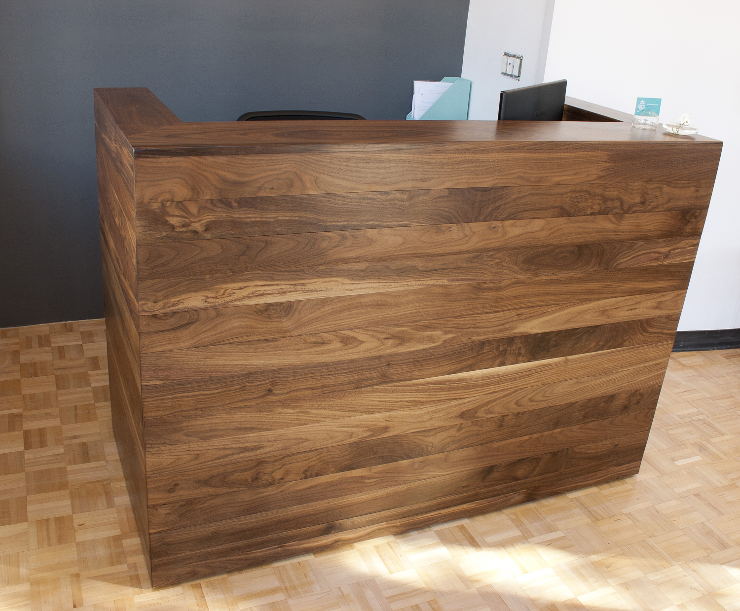 Solid walnut reception desk bay area custom furniture for Reception furniture