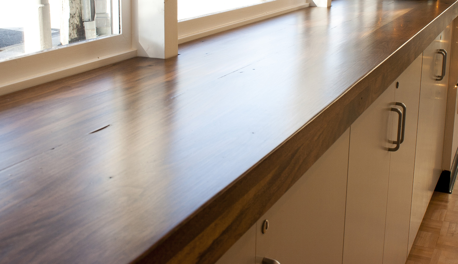 ... the pre-existing window sills. Also three solid walnut wall shelves