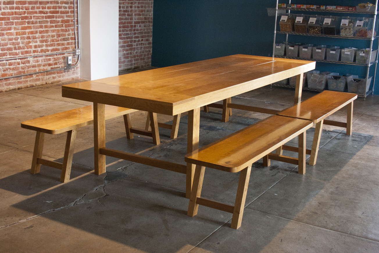 Cherry dining table and bench set bay area custom furniture for Dining area furniture