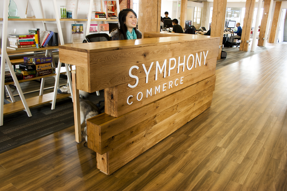 Reclaimed Oak Reception Desk Bay Area Custom Furniture