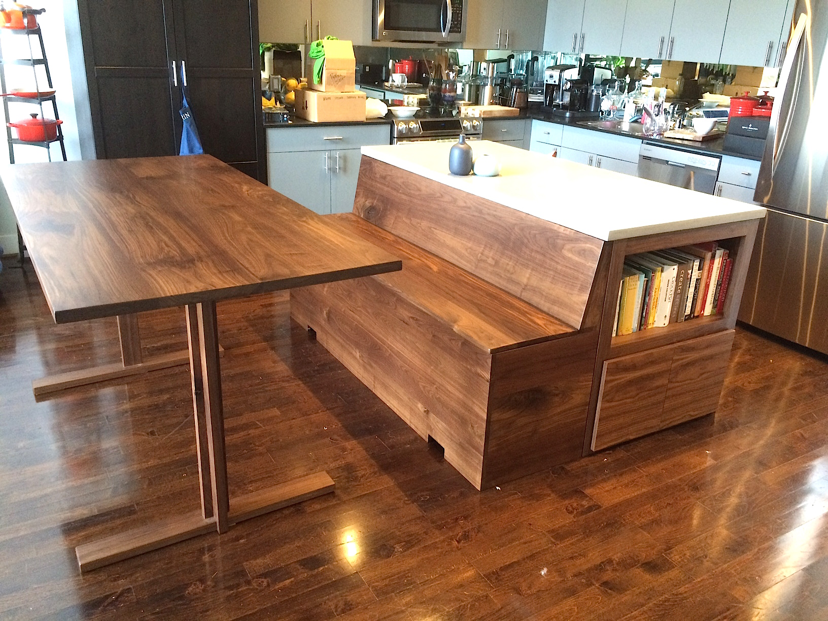 Custom Kitchen Island With Adjoined Storage Bench Bay